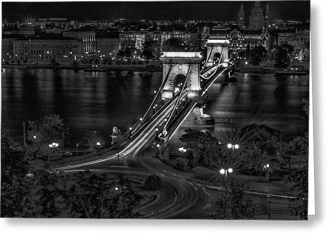 City Buildings Greeting Cards - Night in Budapest Greeting Card by Mountain Dreams
