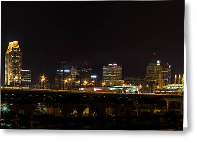 Progressive Field Greeting Cards - Night In Cleveland Greeting Card by Dale Kincaid