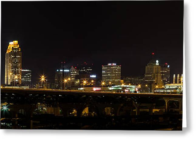 Evening Scenes Greeting Cards - Night In Cleveland Greeting Card by Dale Kincaid