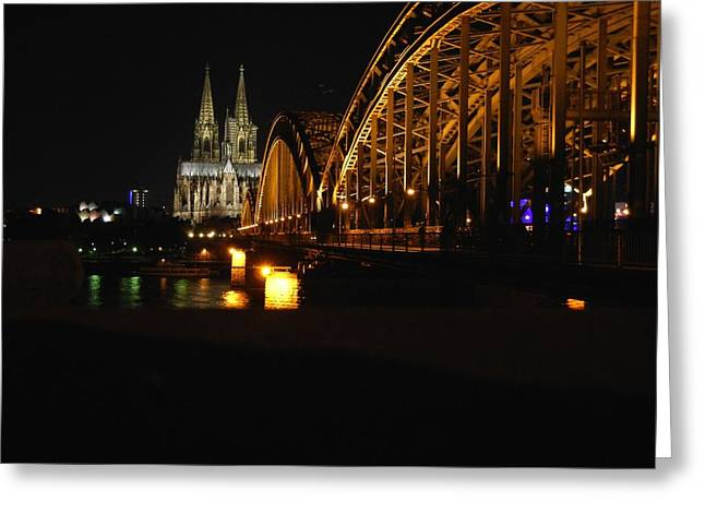 Cologne Greeting Cards - Night in Cologne Greeting Card by Mountain Dreams