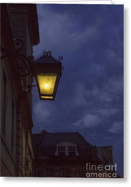 Streetlight Greeting Cards - Night in England Greeting Card by Margie Hurwich