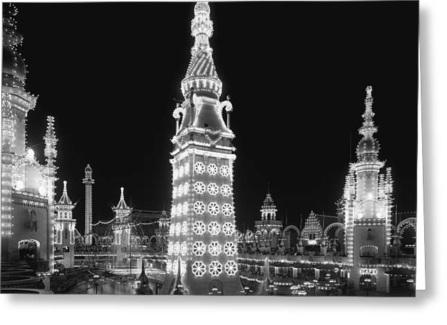 Amusements Greeting Cards - Night in Luna Park Greeting Card by Nomad Art And  Design