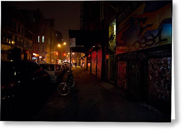 Nyc Graffiti Greeting Cards - Night in New York City Greeting Card by Vivienne Gucwa