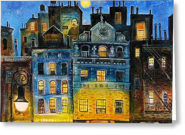 Wine Scene Mixed Media Greeting Cards - Night in New York Greeting Card by Mikhail Zarovny
