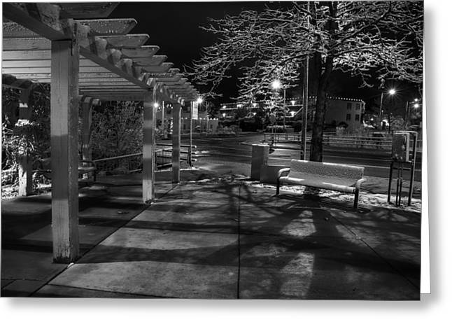 Night Shot Greeting Cards - Night in Santa Fe Greeting Card by Dave Dilli