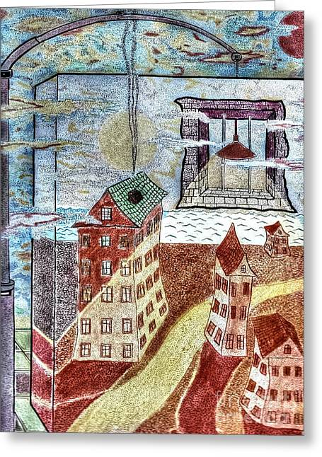 In-city Pyrography Greeting Cards - Night In The City Greeting Card by Yury Bashkin