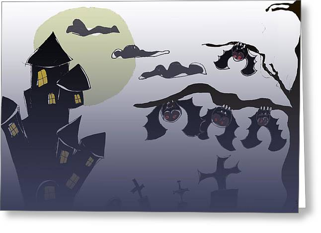 Moon With Bats Greeting Cards - Night -  In the dark Greeting Card by Shirlei Barnes