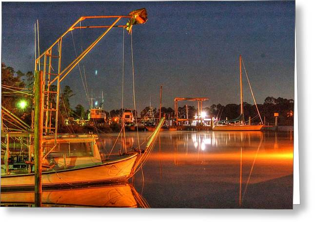 Alabama Greeting Cards - Night in the Harbor Greeting Card by Michael Thomas
