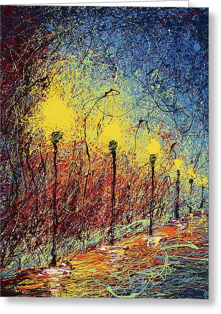 Walk Paths Paintings Greeting Cards - Night in the Park II Greeting Card by Ash Hussein