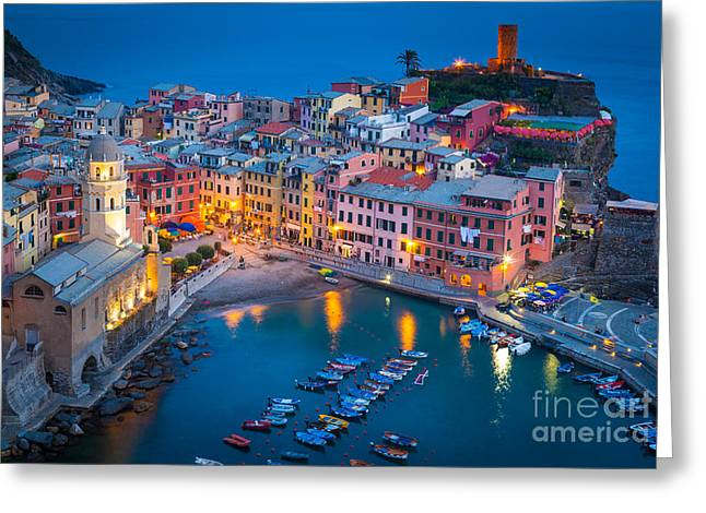 Picturesque Greeting Cards - Night in Vernazza Greeting Card by Inge Johnsson