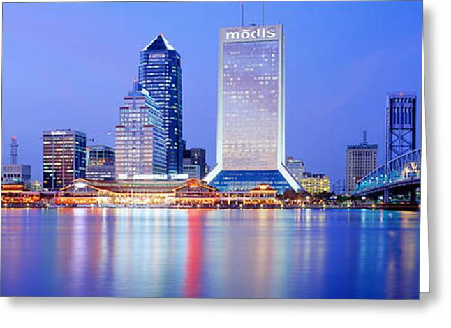 Corporate Business Greeting Cards - Night, Jacksonville, Florida, Usa Greeting Card by Panoramic Images