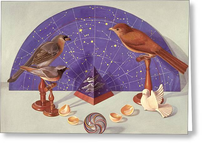 Constellations Greeting Cards - Night Journeys Wc On Paper Greeting Card by Tomar Levine