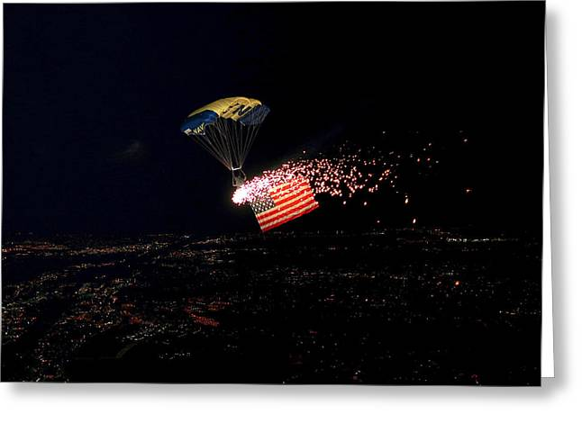 Pyrotechnics Greeting Cards - Night Jump Greeting Card by Mountain Dreams