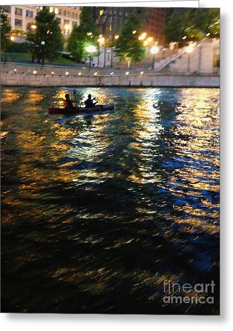 Kayak Greeting Cards - Night Kayak RIde Greeting Card by Margie Hurwich