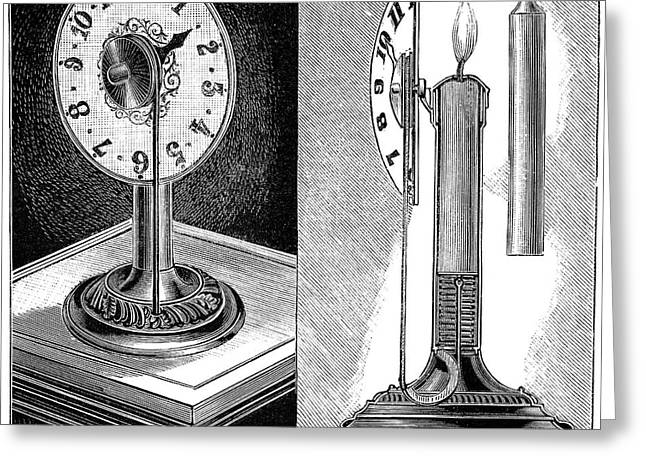 Night Lamp Greeting Cards - Night lamp design, 1893 Greeting Card by Science Photo Library