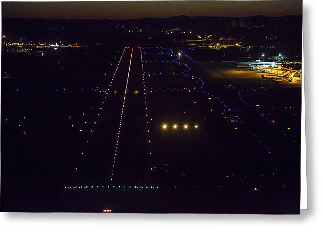 Airport Terminal Greeting Cards - Night Landing At Portand International Greeting Card by Dave Cleaveland