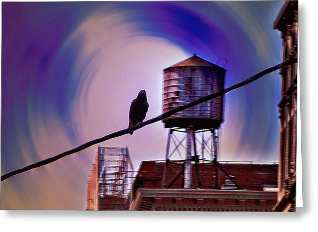 Watertower Greeting Cards - Night Life Greeting Card by Bill Cannon