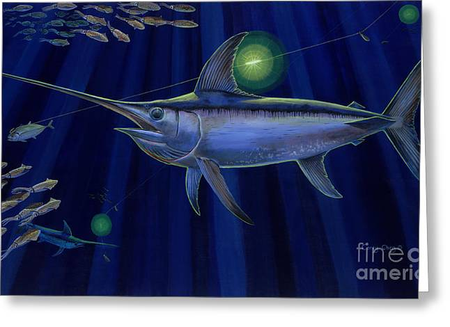 Swordfish Greeting Cards - Night Life Off0026 Greeting Card by Carey Chen