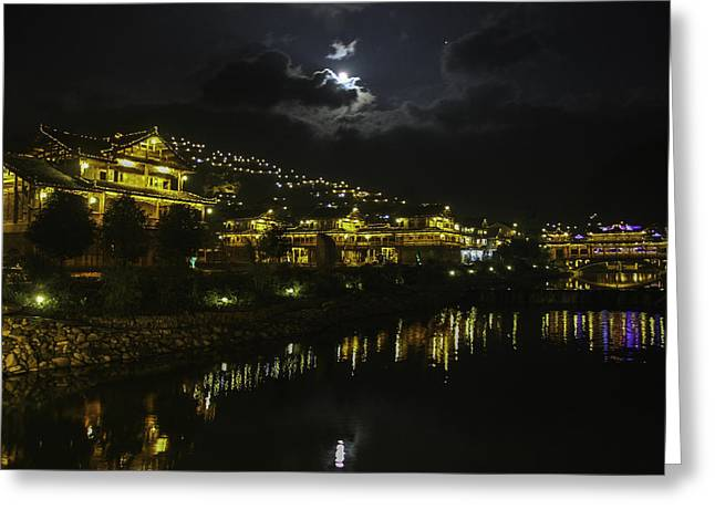 Yun Qing Fu Greeting Cards - Night Life Greeting Card by Qing