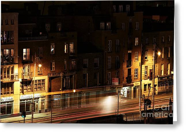Night Shot Greeting Cards - Night Light in Dublin Greeting Card by John Rizzuto