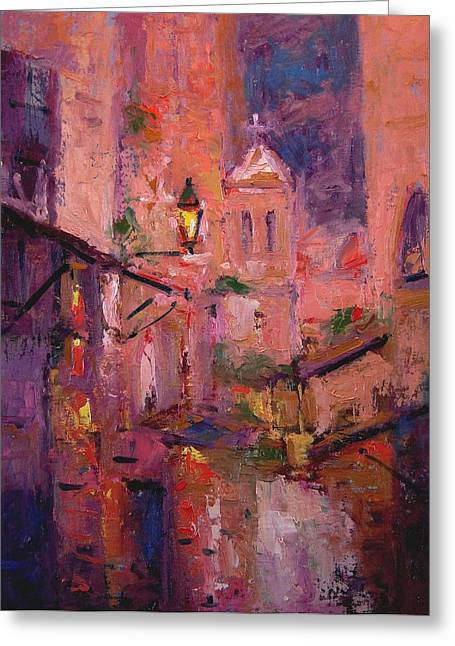 Night Light In Monemvasia Greeting Card by R W Goetting