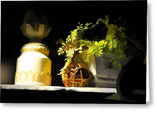 Interior Still Life Digital Greeting Cards - Night Light Greeting Card by Jan Amiss Photography