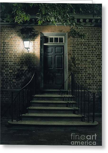 Entrance Door Greeting Cards - Night Light Greeting Card by Margie Hurwich