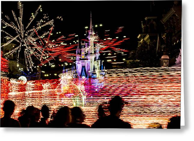 Disney Artist Greeting Cards - night light parade Disney Greeting Card by Kevin Cable