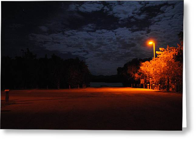 Night Light Greeting Card by Penelope  Griffin-Rosado