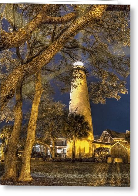 Night Lighthouse Greeting Card by Debra and Dave Vanderlaan