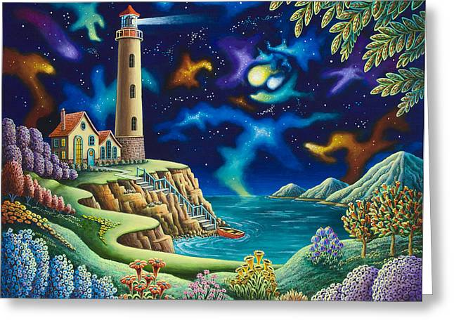 Seaside Heights Paintings Greeting Cards - Night Lights Greeting Card by Andy Russell