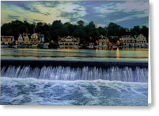 """""""boathouse Row Philadelphia"""" Greeting Cards - Night Lights - Boathouse Row Philadelphia Greeting Card by Bill Cannon"""