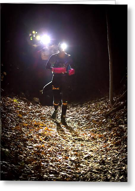 Endurance Sports Greeting Cards - Night Lights Greeting Card by Geoffrey Baker