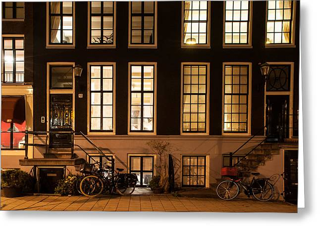 Night Scenes Greeting Cards - Night Lights in Amsterdam. Holland Greeting Card by Jenny Rainbow