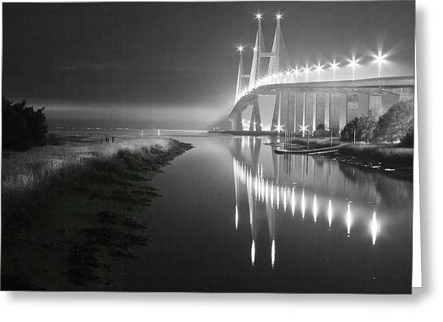 Foggy Ocean Greeting Cards - Night Lights in Black and White Greeting Card by Debra and Dave Vanderlaan