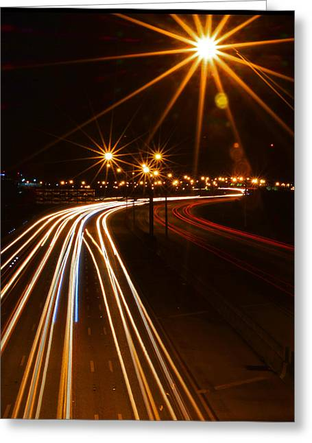 Exposure Greeting Cards - Night Lights Greeting Card by John Robert Galuppo