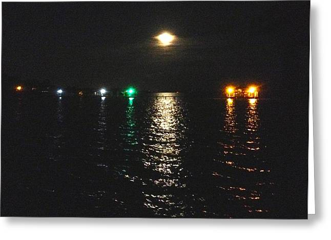 Moon Beach Greeting Cards - Night Lights of Navarre Greeting Card by Terry Cobb