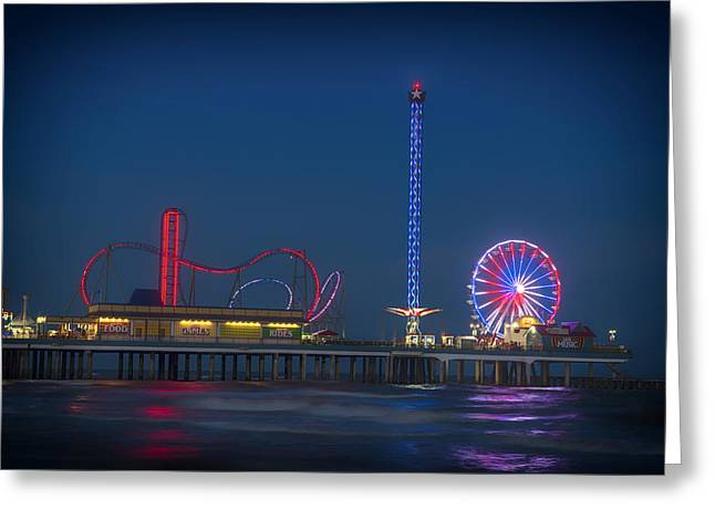 Galveston Photographs Greeting Cards - Night Lights of Pleasure Pier on Galveston Island Greeting Card by Mountain Dreams
