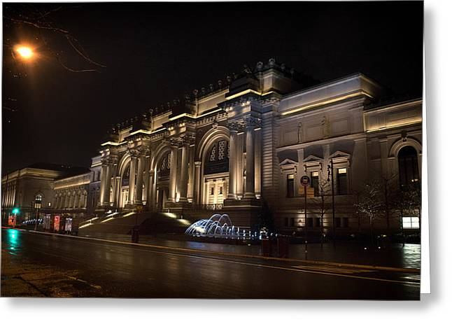 Art Of Building Greeting Cards - Night Lights of the Metropolitan Museum of Art - New York City Greeting Card by Mountain Dreams