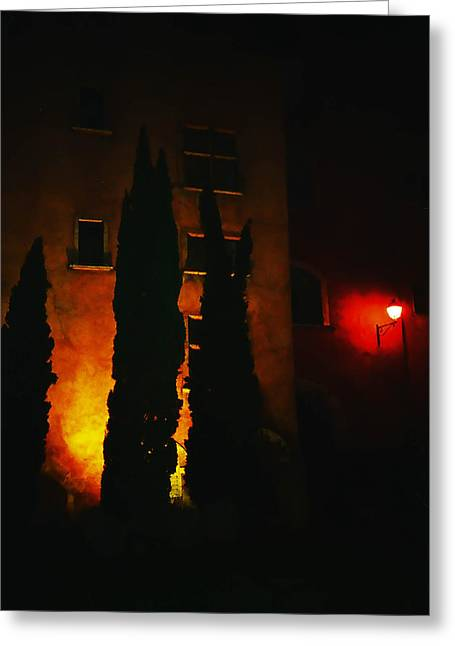 Lyon Greeting Cards - Night Lights of the Old Lyon  Greeting Card by Jenny Rainbow