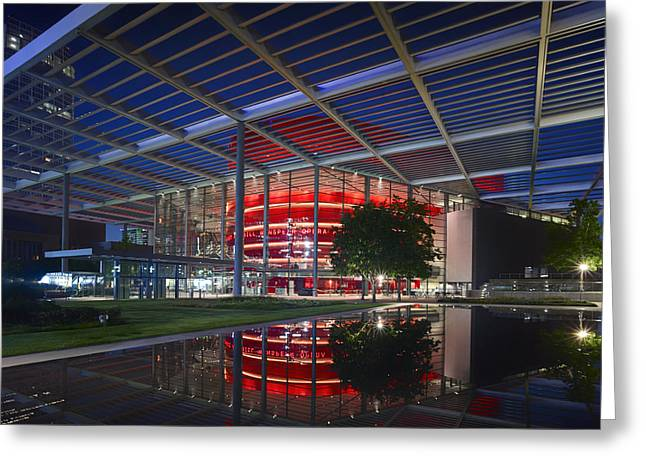 Lovely Pond Greeting Cards - Night Lights of the Winspear Opera House - Dallas Greeting Card by Mountain Dreams