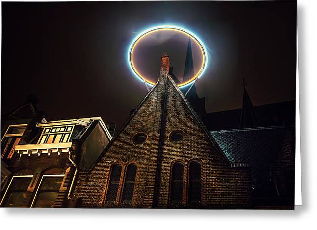 Evening Scenes Greeting Cards - Night Lights of Utrecht. Halo at Willibrorduskerk. Netherlands Greeting Card by Jenny Rainbow