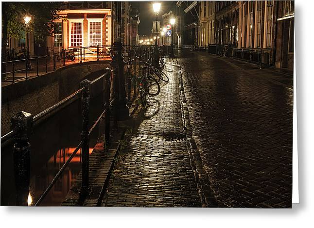 Night Scenes Greeting Cards - Night Lights of Utrecht. Netherlands Greeting Card by Jenny Rainbow