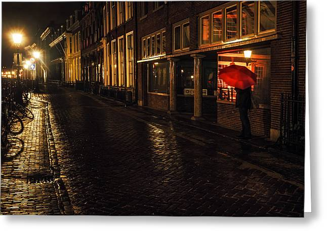 Evening Scenes Greeting Cards - Night Lights of Utrecht. Orange Umbrella. Netherlands Greeting Card by Jenny Rainbow