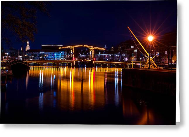 Night Scenes Greeting Cards - Night Lights on the Amsterdam Canals 1. Holland Greeting Card by Jenny Rainbow