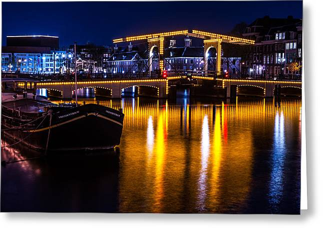 Long Street Greeting Cards - Night Lights on the Amsterdam Canals 3. Holland Greeting Card by Jenny Rainbow