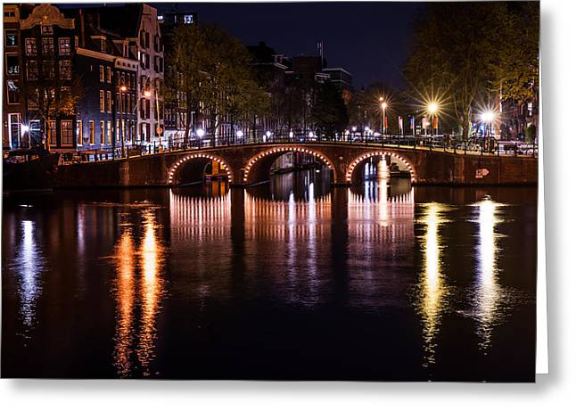 Long Street Greeting Cards - Night Lights on the Amsterdam Canals 4. Holland Greeting Card by Jenny Rainbow
