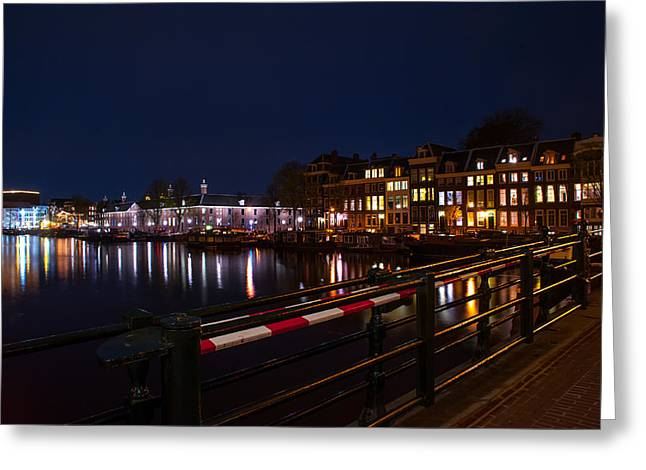 Long Street Greeting Cards - Night Lights on the Amsterdam Canals 5. Holland Greeting Card by Jenny Rainbow