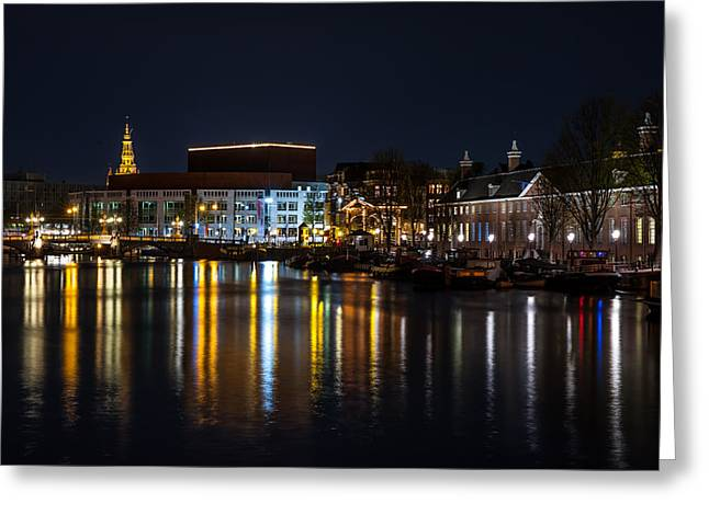 Long Street Greeting Cards - Night Lights on the Amsterdam Canals 6. Holland Greeting Card by Jenny Rainbow