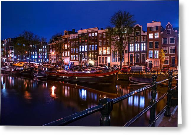 Long Street Greeting Cards - Night Lights on the Amsterdam Canals. Holland Greeting Card by Jenny Rainbow